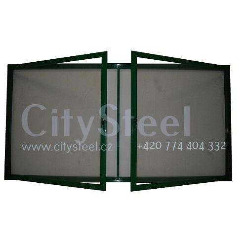Hlinikova magneticka reklamni informacni vitrina s dvoukřídlými dveřmi HD60 1000x1940 24xA4 www.citysteel.cz