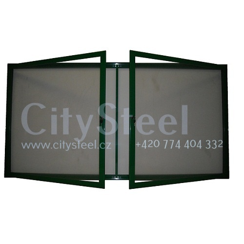 Hlinikova magneticka reklamni informacni vitrina s dvoukřídlými dveřmi HD60 1000x2300 30xA4 www.citysteel.cz