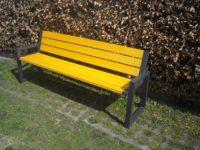 Parková nebo zahradní venkovní lavička CITYHALL s opěrkou ( Kovová konstrukce barva RAL 7016 (antracitová)+ latí dřeva barva Pinie)